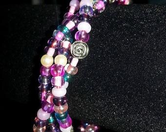 Pearls and Rose Garden Three Strand Braided Bracelet