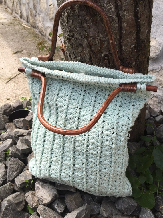 Crochet Bag Handles : Crochet bag with wooden handles by JustForYouhm on Etsy