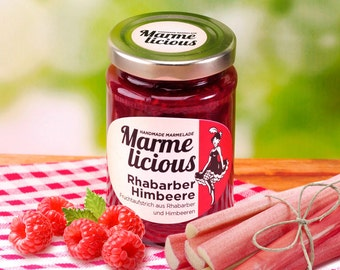 Rhubarb raspberry jam fruit spread