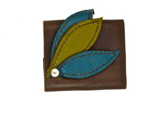 Leather Cuff with Olive & Turquoise Leaf Accents