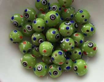 20 Glass Evil Eye Bead in Lime Green 10mm package of 20