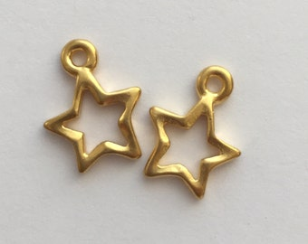 2 Gold Open Star Charm, Pewter, package of 2