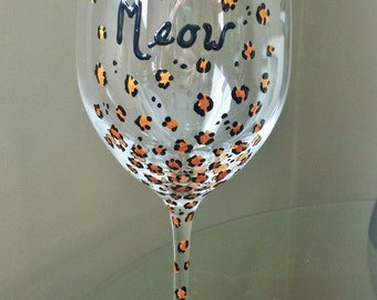 Leopard Print Wine Glasses - Many Different colors and sayings available.