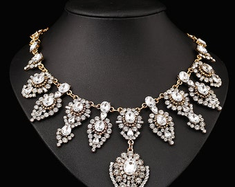 2015 Women 18k Gold Plated Swarovsk Crystal Wedding Party Necklace NZ0225
