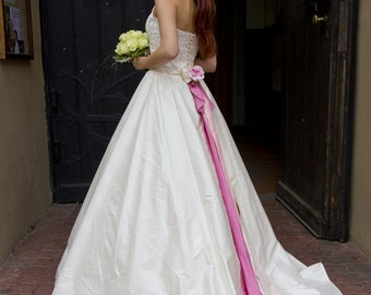 SALE | Taffeta Lace Wedding Halter Dress with Halterneck, Pink Bow and Pink Waistband | Ivory Wedding Gown