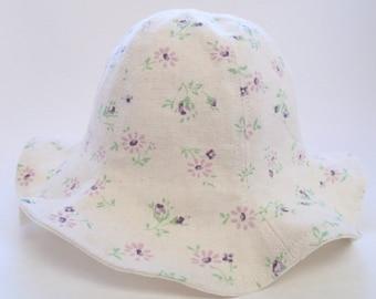 Purple flower baby beach hat, baby sun hat, summer girl's hat