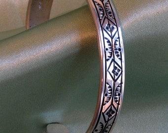 Stamped sterling silver cuff bracelet