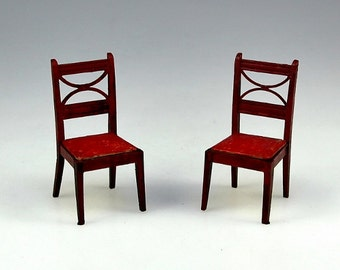 Two 1940's - 50's Doll House Furniture Red Side Chairs