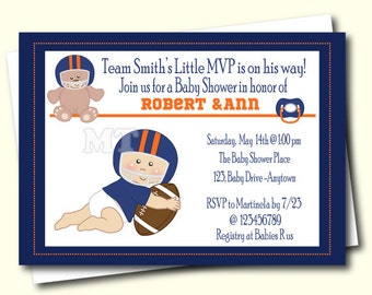 Football Baby Shower Invitation  Sports Baby Shower Invite  Boy Babyshower  Invitation  Coed Baby