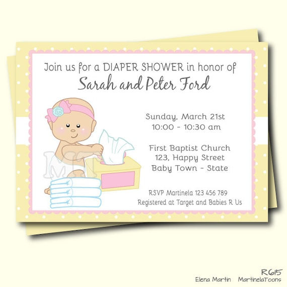 items similar to diapers and wipes girl baby shower invitation pink