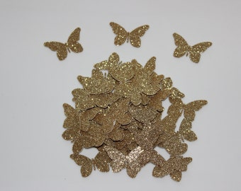 2015 Cinderella Inspired Party Decorations; Gold Glitter Butterflies; Butterfly Confetti; Butterfly Die Cuts; Table Party Decor; Scrapbook