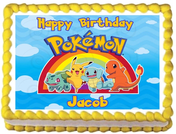 Edible Cake Images Pokemon : POKEMON Edible image Cake topper Rainbow by ...