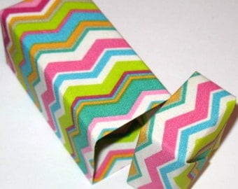 Tall Origami Gift Box - Fabric Origami Box - Pink, Turquoise, White, and Lime Green Chevron