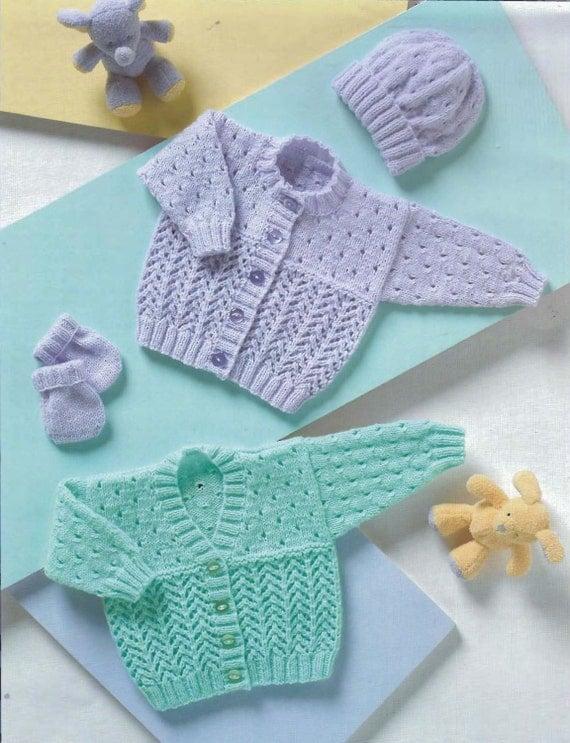 Knit Baby Cardigan Hat Mittens Vintage Knitting Pattern