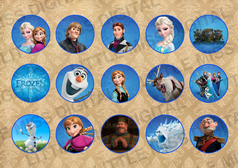 Frozen Stickers Blue Round Anna Elsa Olaf by ...
