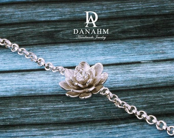 Flower Bracelet with Desert Diamond, Sterling Silver, White Gold Plated, BR009A