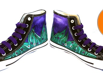 Hand Painted High Top Boots Shoes