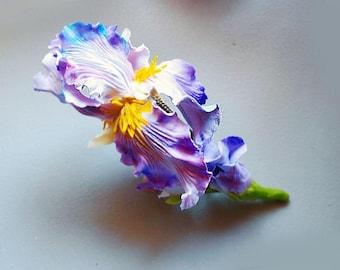Handmade Barrette with Iris. Handmade Hair Accessories. Fashion Flower Floral Barrette. Women Accessories. Cold porcelain.