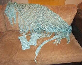 FULL SET!  Brick Lace, triangle shawl with fringe; fingerless gloves; headband