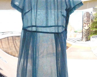 Sheer Blue Dress-Patterned Dress- Summer /Spring Dress