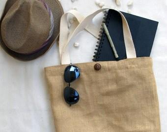 Natural Burlap Tote Bag- Blank, white handles and white nylon lining