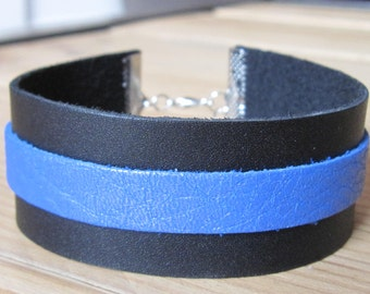 black and blue leather Cuff Bracelet