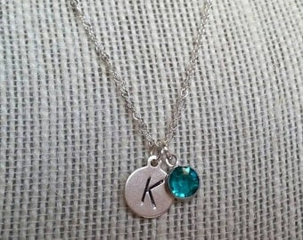 Sterling Silver Initial With Birthstone Necklace