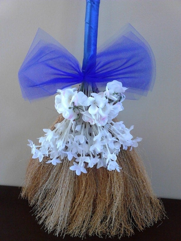 24 inch royal blue wedding broom jumping broom