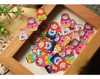 Cute Russian Matryoshka Doll Deco Sticker Pack, 70 Pcs