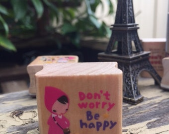 Red Riding Hood Girl Dont Worry Be Happy rubber stamp