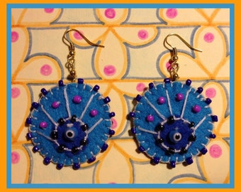 Blue-eyed Peacock Earrings