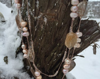 Rutile Quartz and Freshwater Pearl Necklace