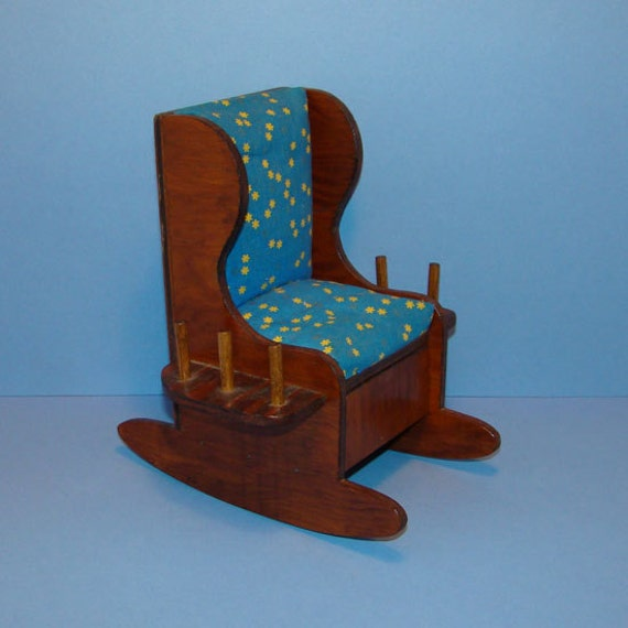 Vintage Wooden Sewing Caddy Rocking Chair Thread Holder Pin