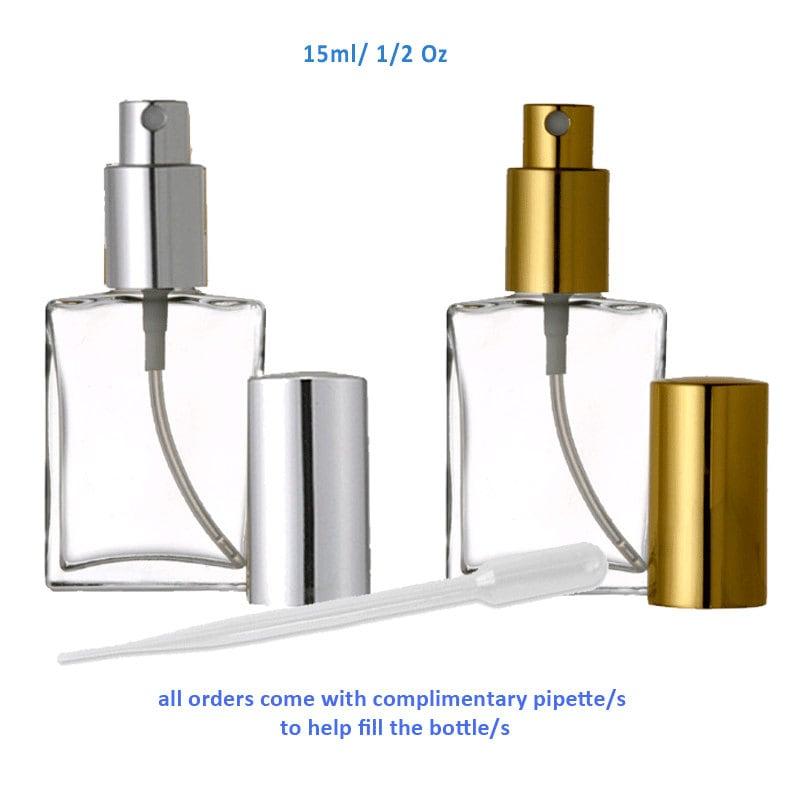 Perfume Refill Kenya: 3.4 Oz 100ml Square Flat Glass Atomizer Spray Bottles Mist Gold Or Silver Spray Cap FREE Pipette