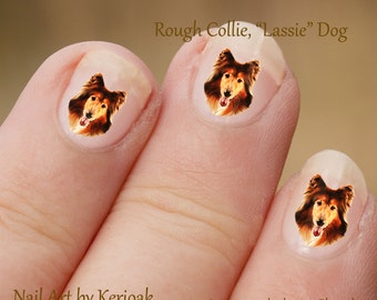 Rough Collie Nail Art,  Dog Nail Art Stickers, Rough Collie Nail Stickers, Fingernail Stickers, Lassie dog, Decals