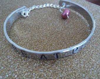 Silver Hand-stamped Bangle Bracelet