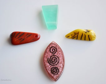 Pendants for necklace, Resin pendants, blue, yellow pink red, 4 pendants.Wholesale beads, new jewelry bead supplies, under 3