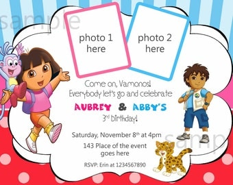 Dora and Diego Birthday Invitation, Digital (you print) With or Without Photo