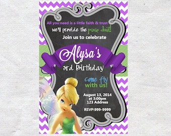 Tinkerbell Birthday Invitation Invite Chalkboard Chevron Pattern Tinkerbell Invitation Tinkerbell Invite