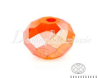 100Pcs 4.7x6mm Tangerine AB Rondelle Crystal Beads Center Drilled DIY Jewelry CR0378-75