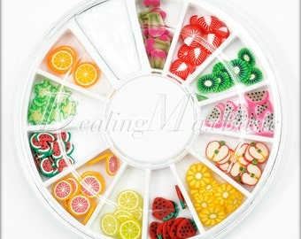 120 Mixed 12 Style Fruit Food Polymer Clay Fimo Slice 3D Nail Art Decoration NA0001