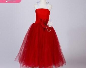 Red Floor Length Tutu Dress, Red Full Length Tutu, Red flower girl dress, Little Red Riding Hood, Handmade red tutu dress,