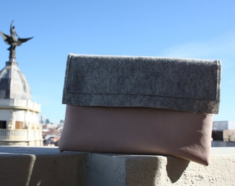 Bag beautiful in skin color Pink Pearl and felt gray stone