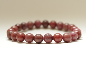 8mm Rhodonite, Gemstone Stretch Bracelet