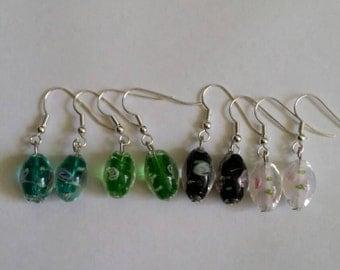 Glass lamp work bead earrings