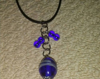 Blue glass beads, glass beads, chain, silver chain, leather necklace, blue necklace