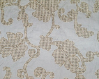 STROHEIM ROMANN ANDROS Embroidered Acanthus Jacobean Fabric 10 Yards Cream