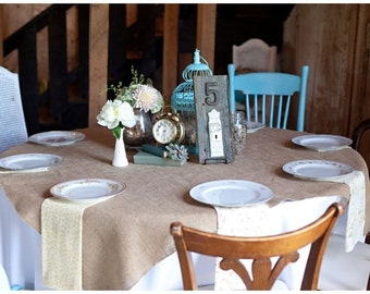 Pack 6 of 50'' X 50'' square burlap table overlay - Qty 6 tablecloths -  Wedding table cloth