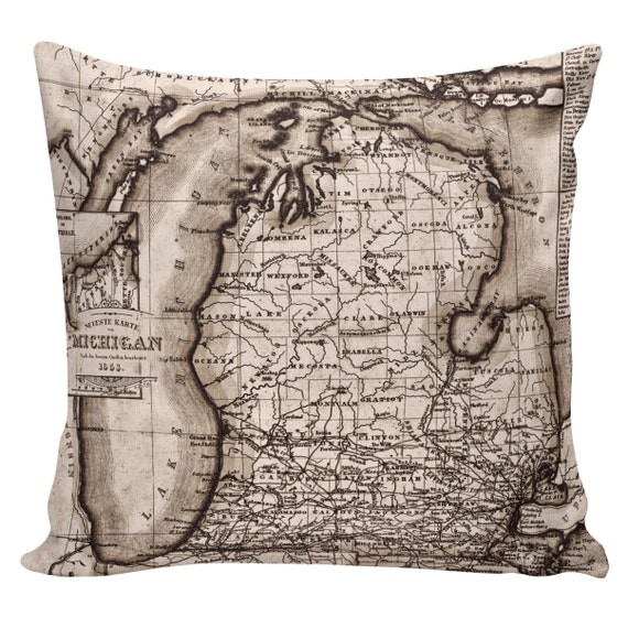 Items similar to Decorative Cotton Pillow Cover Cushion Map of Michigan Restoration Hardware ...