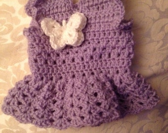 baby dress, crochet baby dress, purple